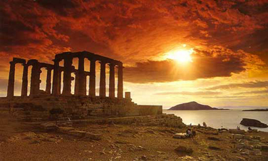 Beutiful sunset at Cape Sounion